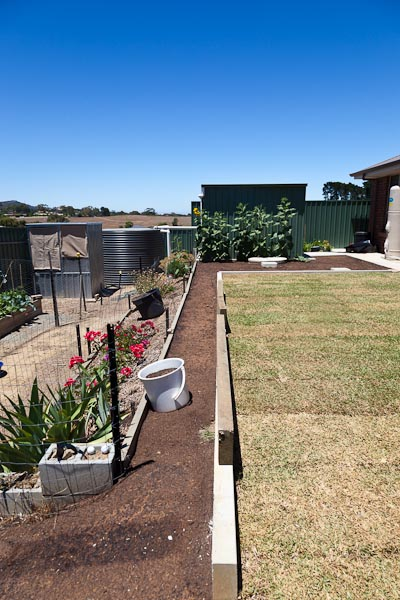 Top soil filling up the small garden bed that borders the lawn.