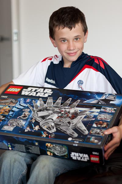 Samuel with his Bolton Wanderers Jersey and new Star Wars Lego.