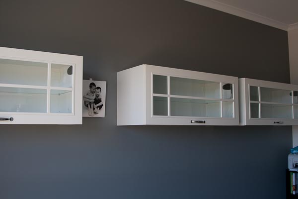 Dulux Timeless Grey, Ikea kitchen overhead Faktum cupboards with Stat glass doors