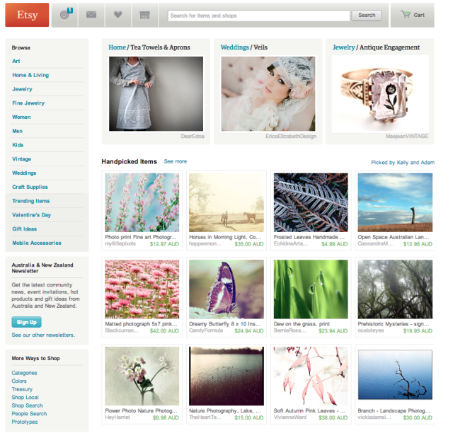Etsy Front Page feature