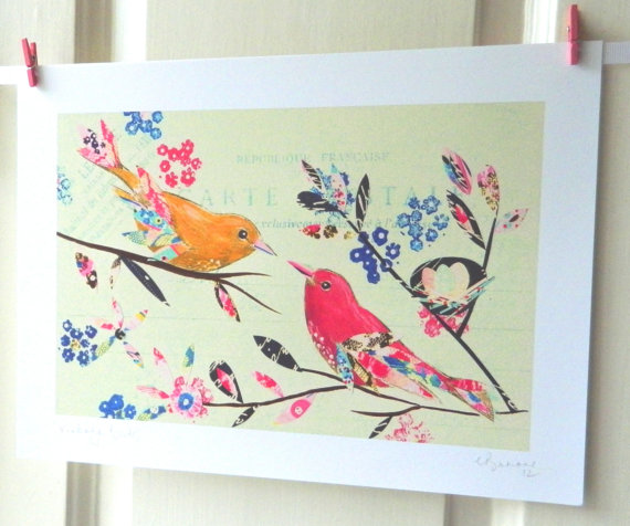 Vintage Bird Print Whimsical Art