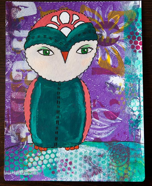 Painted owl on Gelli Plate background