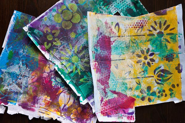 Gelli Prints on inside of envelopes